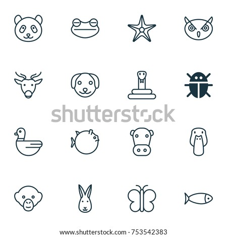 Includes Icons Such As Duck, Beetle, Puppy And Other.  Nature Icons Set.