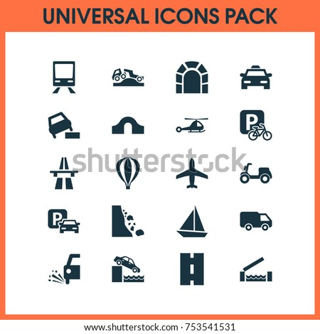 Includes Icons Such As Skooter, Way, Truck And Other.  Shipment Icons Set.