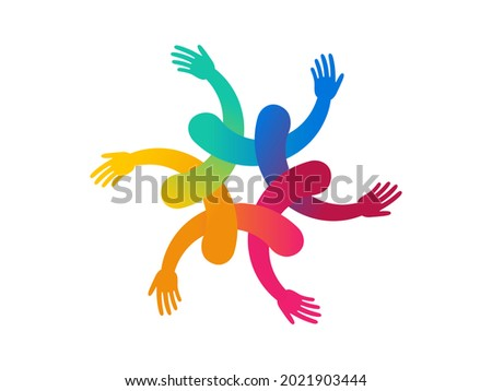 Inclusion and diversity culture equity logo. People hold hands with gender equality icon. Inclusion infographic. Disability rights. Culture team group. Social equity and gender equality logo. Vector