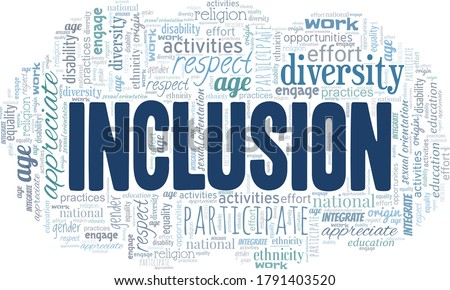 Inclusion word cloud isolated on a white background. Foto d'archivio ©