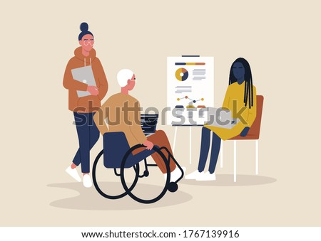 Inclusive office, a group of young millennial characters working on a project, staff meeting, management