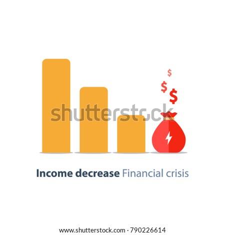 Income decrease graph, financial crisis rate, revenue decline chart, economy downturn, investment risk, fund management, budget deficit, vector illustration, flat icon