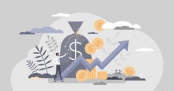 Income growth and profit earnings as financial progress tiny person concept. Symbolic upward arrow as salary, deposit or account money rise and wealth gain vector illustration. Successful businessman.