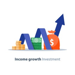 Income growth chart, banking services, financial report graph, return on investment flat icon, budget planning, mutual fund, pension savings account, interest rate, vector illustration