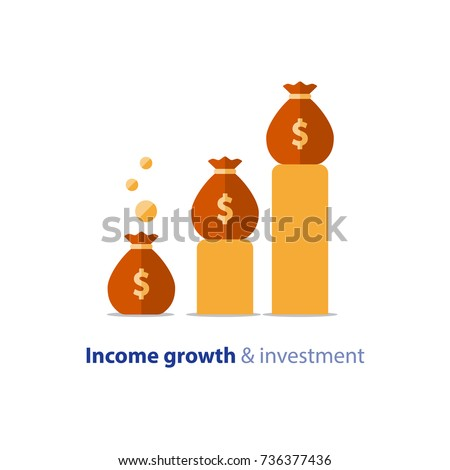 Income growth graph, return on investment chart, budget fund plan, revenue increase, accounting report, ascending chart, money bag income, pension saving account, business and finance vector flat icon