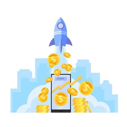 Income growth or money revenue increase vector illustration with launching rocket, dollar coins stack, smartphone. Return on investment or business profit finance concept.Income growth economic design