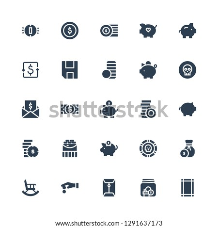 income icon set. Collection of 25 filled income icons included Margin, Savings, Coin, Coins, Retirement, Piggy bank, Dollar, Taxes, Coin stack, Save, Dollar coins #1291637173