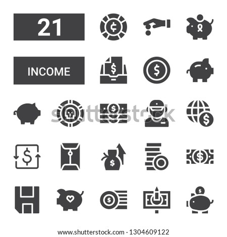 income icon set. Collection of 21 filled income icons included Piggy bank, Banknote, Coins, Save, Dollar, Salary, Coin, Salesman, Taxes #1304609122