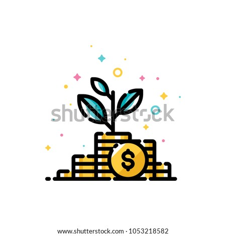 Income increase and make more money concept with plant growing out of gold coins. Flat filled outline style icon. Pixel perfect. Editable stroke. Size 72x72 pixels