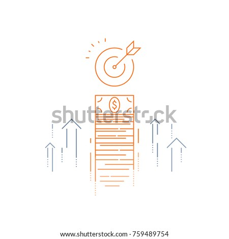 Income increase, financial strategy, high investment return, money bundle, fund raising, long term increment, revenue growth, interest rate, bond dividends, stock market, vector line icon thin stroke