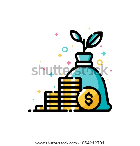 Income increase, return on investment and mutual fund raising concept with gold coins and plant growing out of money bag. Flat filled outline style icon. Pixel perfect. Editable stroke. 72x72 Foto stock ©