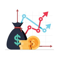 Income increase strategy. Financial high return on investment, fund raising or revenue growth interest rate. Loan installment and credit money, budget balance. Isolated flat design vector illustration