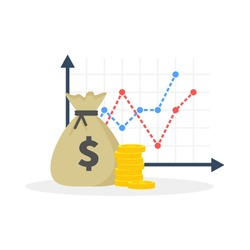 Income increase strategy, Financial high return on investment, fund raising, revenue growth, interest rate, loan installment, credit money, budget balance. Flat design, vector illustration on