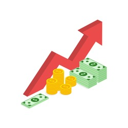 Income increase strategy, isometric Financial high return on investment, fund raising, revenue growth, interest rate, loan installment, credit money, budget balance. Vector illustration on background.
