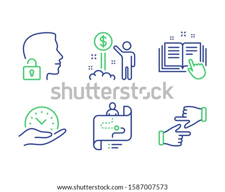 Income money, Safe time and Journey path line icons set. Unlock system, Technical documentation and Click hands signs. Wealth, Management, Project process. Access granted. People set. Vector