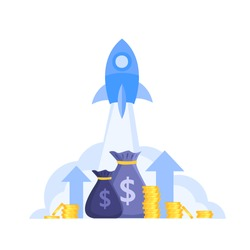 Income or revenue growth finance vector concept with launching rocket, money bags, coins,arrows. Economic or return on investment cartoon flat illustration isolated on white. Income increase or growth