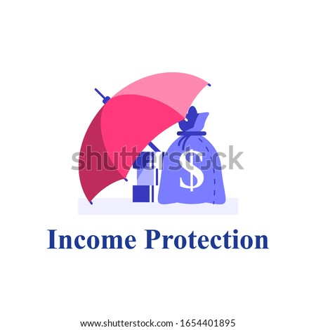 Income protection, financial coverage, savings for rainy day, money bag under umbrella, finance safety, capital allocation, invest fund, risk insurance, pension or retirement concept, flat vector Stockfoto ©
