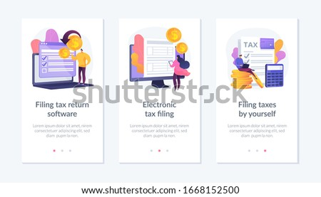 Income reporting, revenue declaration, financial statement. Filing tax return software, electronic tax filing, filing taxes by yourself metaphors. Mobile app UI interface wireframe template.