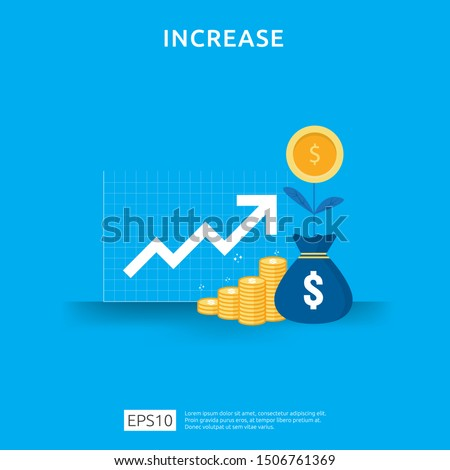 income salary rate increase. business chart graphic growth margin revenue. Finance performance of return on investment ROI concept with arrow element. flat style design vector illustration