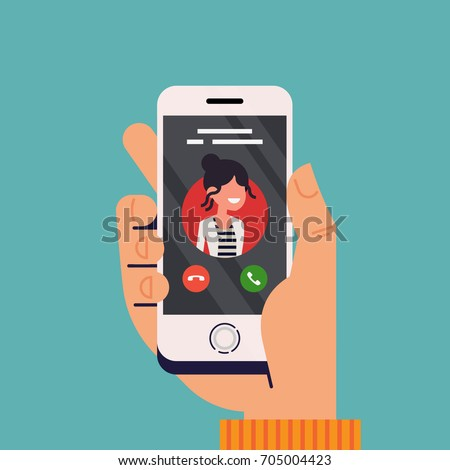 Incoming call concept vector illustration with hand holding mobile phone with caller ID on screen and accept or decline buttons