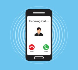 Incoming call on smartphone, Communication Connect Concept, vector design