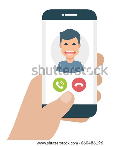 Incoming call on smartphone screen. Flat design vector illustration