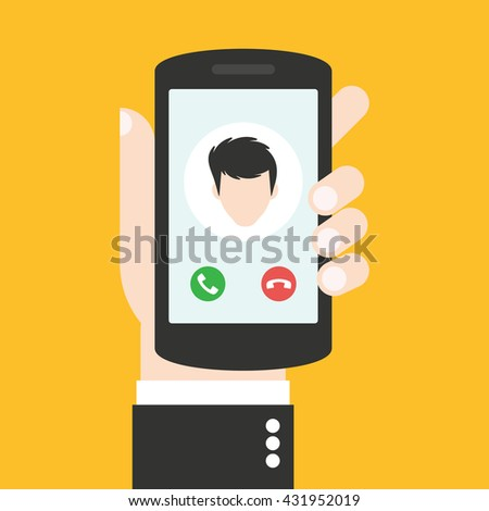 Incoming call on the phone which is in the hand. Hand holds phone, finger touch screen. Calling service. Flat design vector illustration
