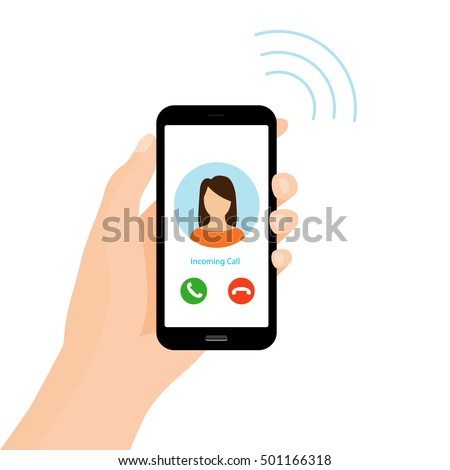 Incoming phone call. Holding smart phone on hand. Vector Illustration.