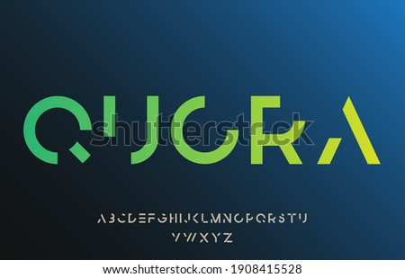 incomplete minimal cut alphabet capital lettering a to z font family Stock fotó ©