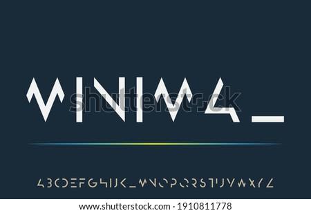 incomplete minimal cut alphabet lettering a to z font family Stok fotoğraf ©
