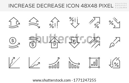 Increase decrease and arrow vector line icon. Include graph, chart, data, info to show trend i.e. growth, drop, increase, decrease, up, down. For property, price, value, financial, money, rate, sale. Сток-фото ©