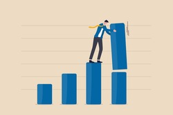 Increase investment profit, GDP rising up or growing business performance concept, success businessman standing on bar graph stacking huge amount of profit on top of this year bar graph.