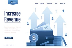 Increase revenue landing page template. Wallet full of money. High interest rate. Growing quotes, raise capital,investment portfolio,budget profit. financial fund growth concept.  Vector illustration