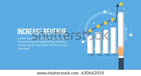 Increase revenue, sales growth, business development flat design vector concept isolated on blue background