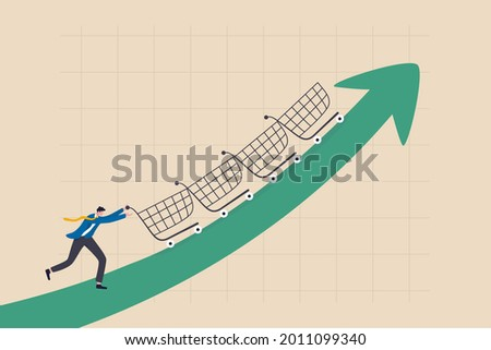 Increase sales or profit, purchasing power growth or consumer spending more money, marketing strategy concept, businessman sale manager push role of shopping cart trolley up rising arrow. Сток-фото ©
