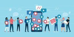 Increase your social media followers with successful marketing strategies: people bringing likes and reactions to a social media profile on a smartphone