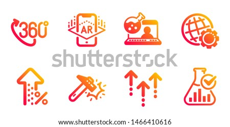 Increasing percent, Augmented reality and Hammer blow line icons set. 360 degree, Globe and Swipe up signs. Online chemistry, Chemistry lab symbols. Discount, Phone simulation. Vector