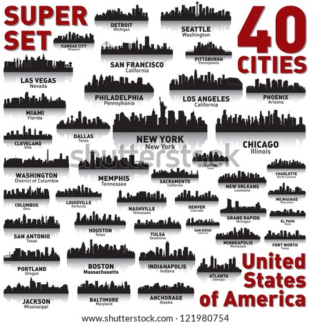 Incredible city skyline set. 40 city silhouettes of United States of America - stock vector