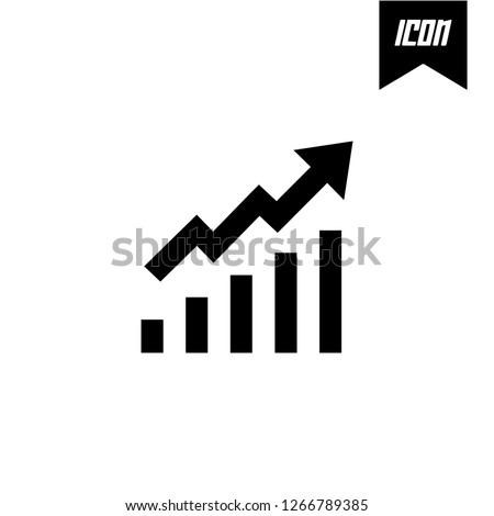Increment chart with arrows going up symbol Vector illustration mobile application. Simple flat modern design style. Black color.