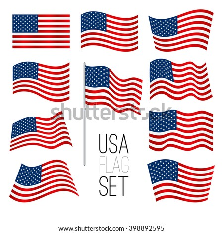 Independence day background. Set of United States flag. USA flag. American symbol. Flag USA.American flag. USA flag set. American flag set. Wavy USA flag. American flag wavy shape. USA. Flag.