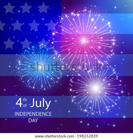 Independence day background with American flag and fireworks, illustration. - stock vector