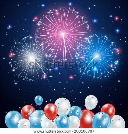 Independence day background with balloons and fireworks on night sky, illustration.