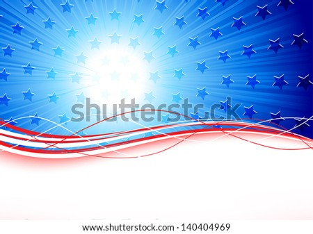 Independence day background with stars and lines, illustration.