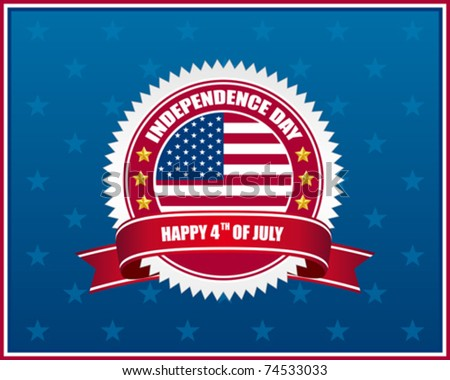 independence day badge on patriotic background