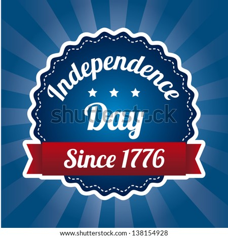 independence day illustration over blue background. vector