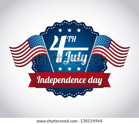 independence day illustration over gray background. vector