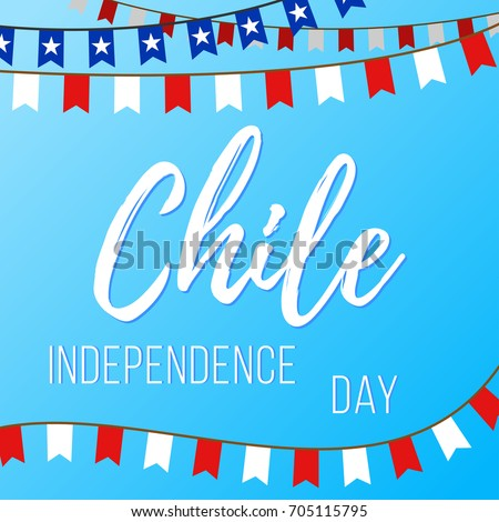 Shutterstock Independence Day in Chile. Vector illustration with inscription and garlands with flags on a blue background
