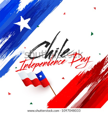 Independence Day of Chile with waving flag on grunge background.