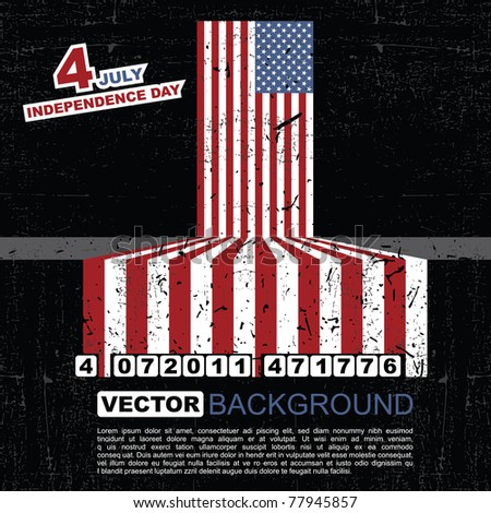 Independence Day- 4 of July - Retro grunge barcode background