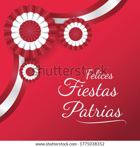 """Independence day of Peru, message that says """" Felices fiestas patrias"""" Decoration cockade celebration , background red vector illustration."""